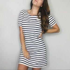 Anthro Postmark striped bow shift dress